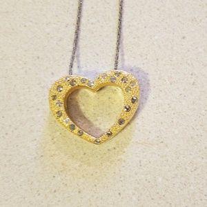 Brighton reversible heart rhinestone necklace